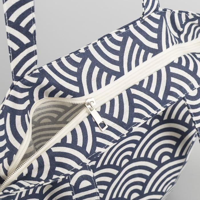 """Сумка текстильная """"Орнамент"""", отдел на молнии, без подклада, цвет молочный"""