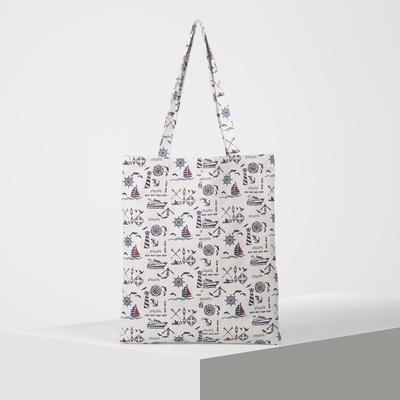 """Bag textile """"Sea breeze"""", the zipper, no padding, color milk"""
