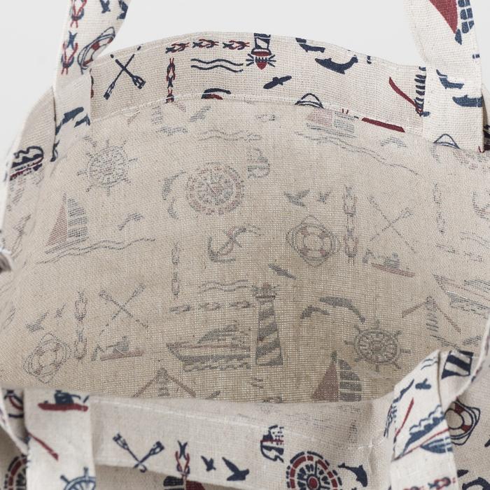 """Сумка текстильная """"Морской Бриз"""", отдел на молнии, без подклада, цвет молочный"""