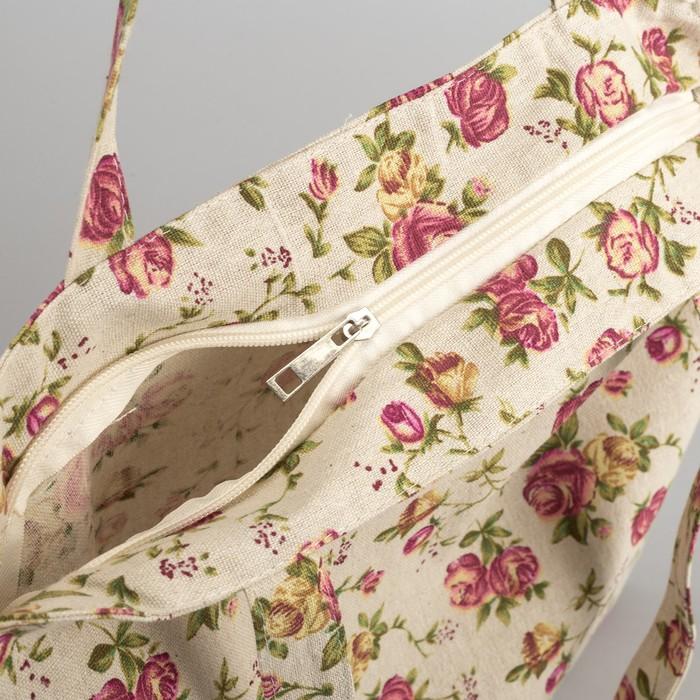 "Сумка текстильная ""Розочки"", отдел на молнии, без подклада, цвет молочный"