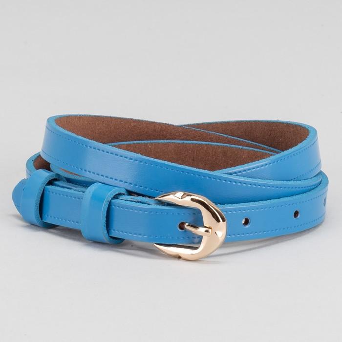Ремень, пряжка золото, ширина - 1,4 см, цвет синий