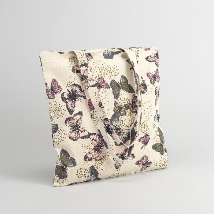 "Сумка текстильная ""Бабочки"", отдел на молнии, без подклада, цвет бежевый"