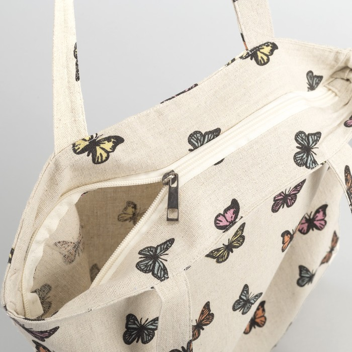 """Сумка текстильная """"Бабочки"""", отдел на молнии, без подклада, цвет молочный"""