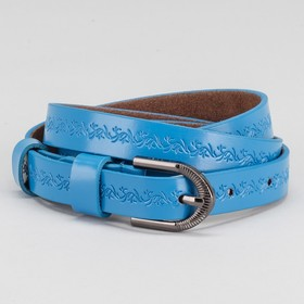 Ремень женский, пряжка тёмный металл, ширина - 1,8 см, цвет синий