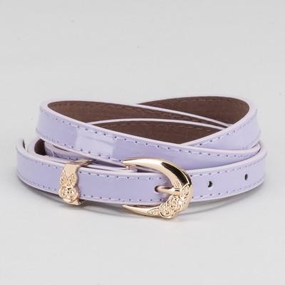 Women's belt, buckle and yoke gold, width - 1.4 cm, color purple
