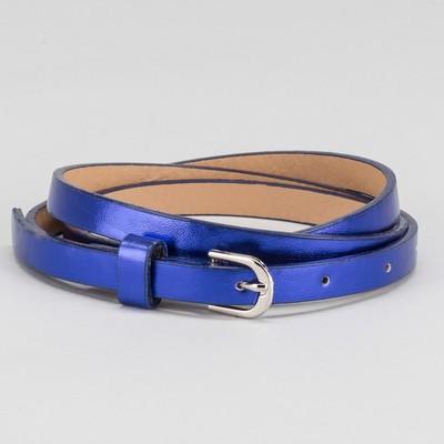 Ремень женский, гладкий, пряжка металл, цвет синий