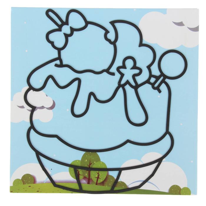 """Аппликация шариковым пластилином """"Веселье №12"""" 8 цветов по 4 гр, подставка, стразы"""