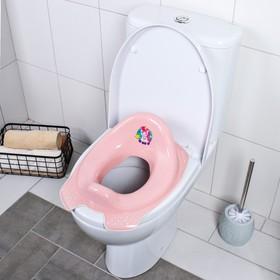 Детская накладка - сиденье на унитаз «Мишка» антискользящая, цвет розовый