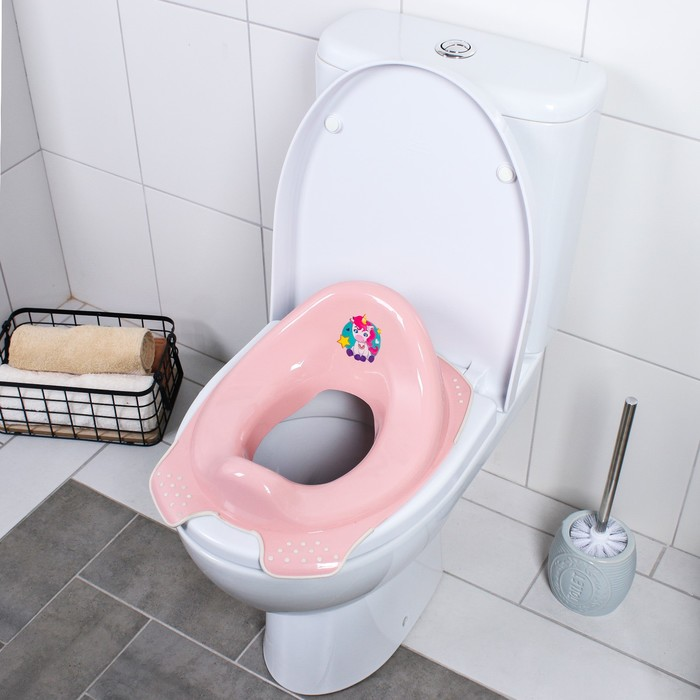 Сиденье детское на унитаз «Мишка» антискользящая, цвет розовый