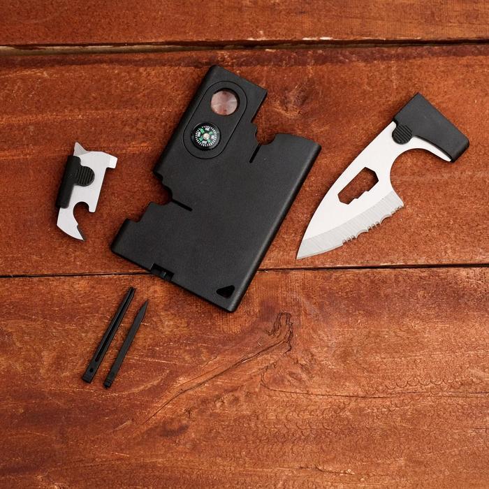 Набор для выживания (карта выживания, нож, насадки) 9*6см