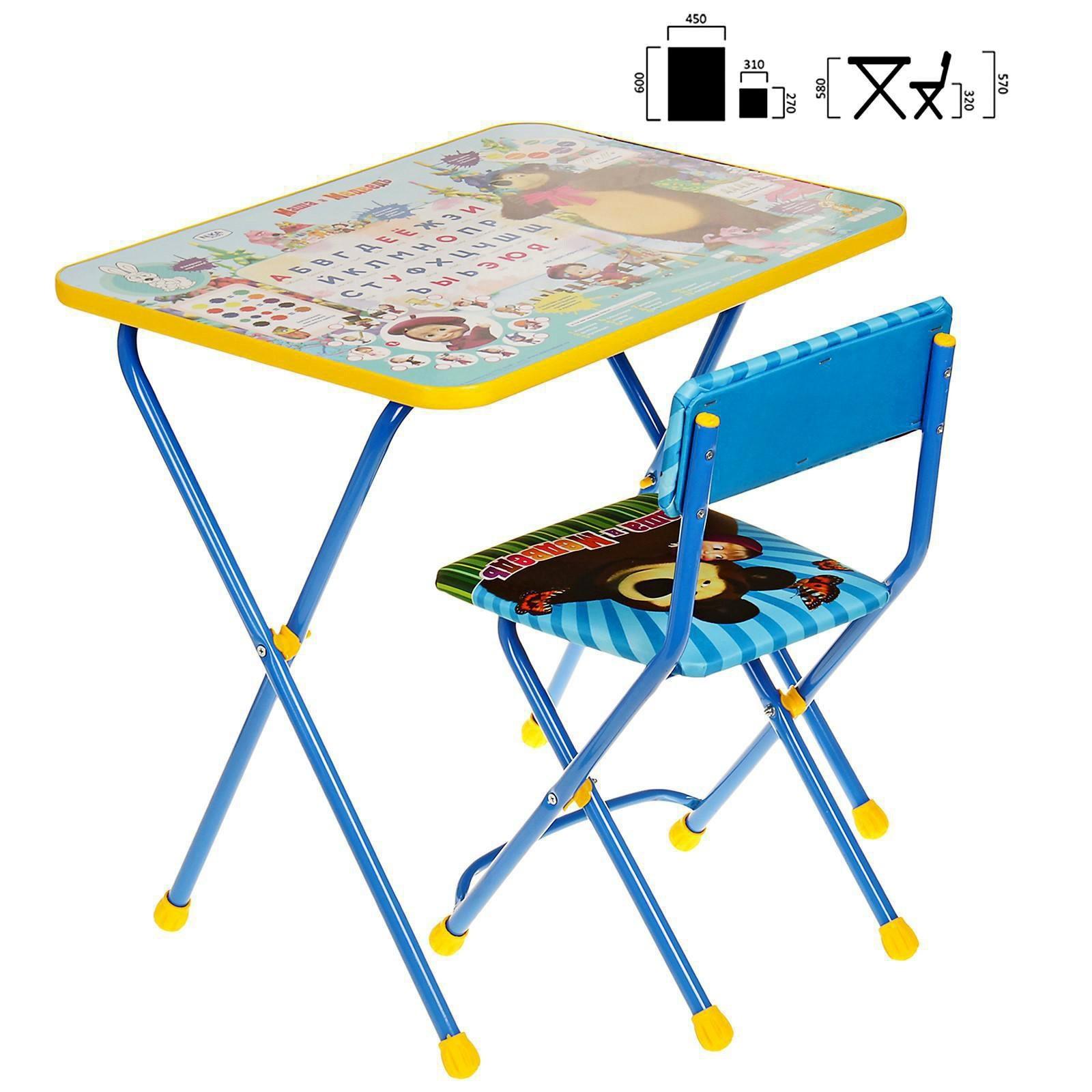 набор мебели азбука 2 маша и медведь стол стул мягкий 3045286