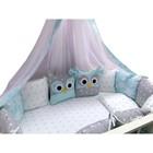 """Комплект в кроватку (22 предмета) Incanto, универс. """"Совушки"""", голубой, хлопок 100%"""