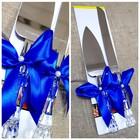 """Набор """"Свадебный"""" для торта с синим бантом: нож и лопатка"""