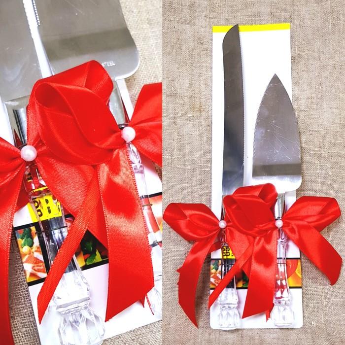 """Набор """"Свадебный"""" для торта с красным бантом: нож и лопатка"""