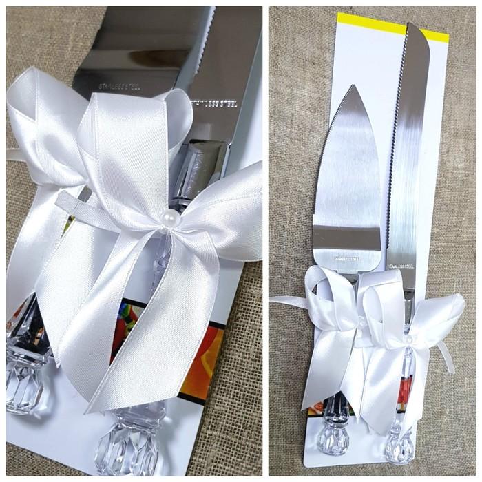 """Набор """"Свадебный"""" для торта с белым бантом: нож и лопатка"""