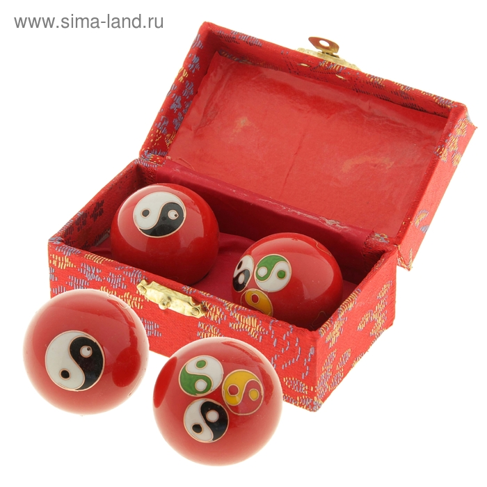 """Поющие шары Баодинга (шары здоровья) (набор 2шт) d=3,5 см """"Инь и Ян"""", цвета МИКС"""