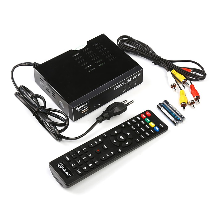Приставка для цифрового ТВ D-COLOR DC1501HD, FullHD, DVB-T2, дисплей, HDMI, RCA, USB, черная