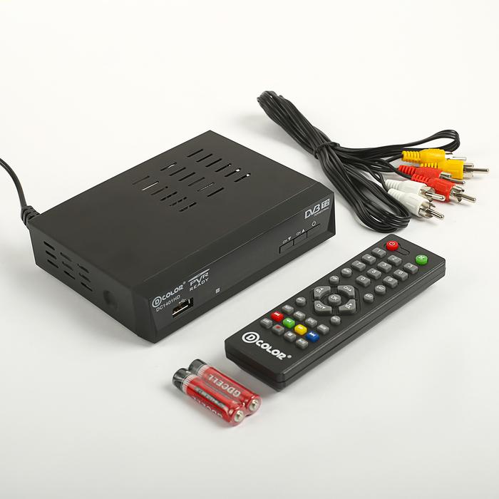 Приставка для цифрового ТВ D-COLOR DC1401HD, FullHD, DVB-T2, дисплей, HDMI, RCA, USB, черная