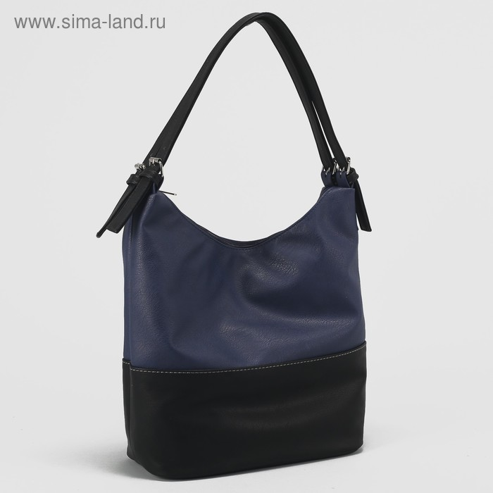 Сумка женская, 1 отдел с перегородкой на молнии, наружный карман, цвет синий/чёрный