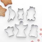 """Набор форм для вырезания печенья 7x13 см """"Животные,ангелы"""", 6 шт - фото 162778458"""