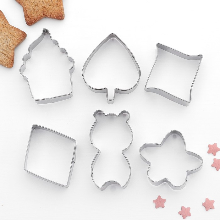 """Набор форм для вырезания печенья 7x13 см """"Цветок,капкейк,ромб"""", 6 шт - фото 241394173"""