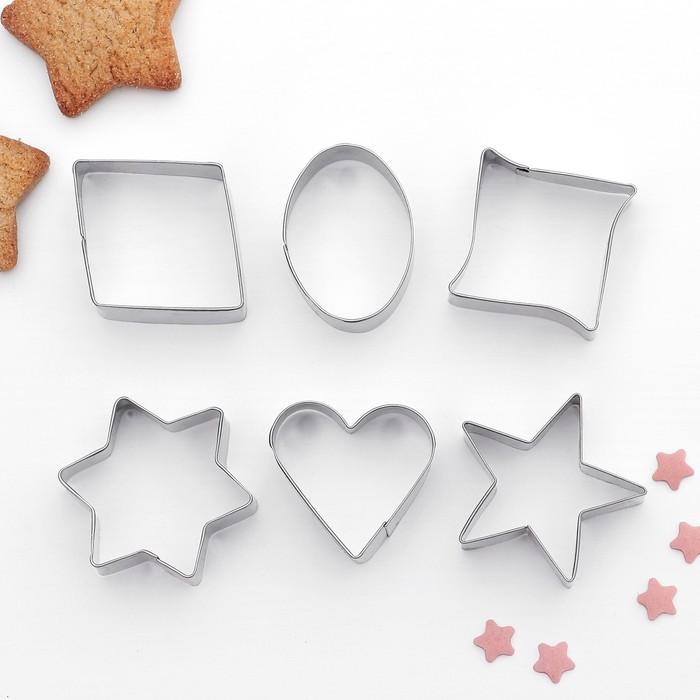"""Набор форм для вырезания печенья 7х13 см """"Сердце, круг, звезда, квадрат"""", 6 шт - фото 192147148"""