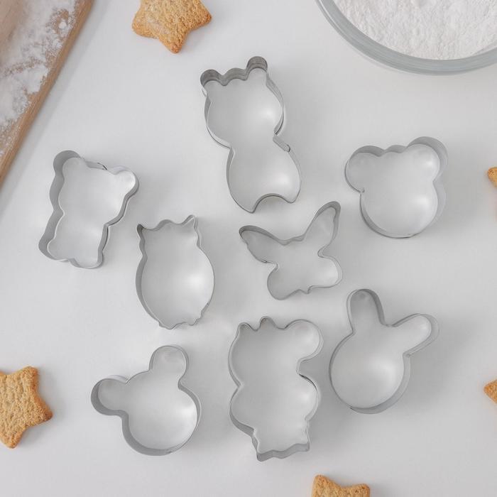 Набор форм для вырезания печенья Доляна «Животные», 14×14 см, 8 шт - фото 308034467