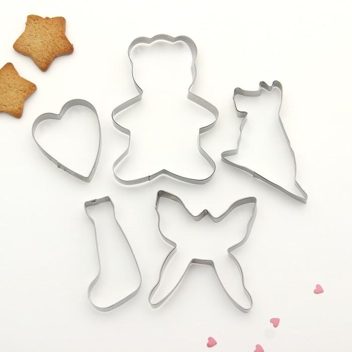 """Набор форм для вырезания печенья 19х13 см """"Бабочка, сердце, мишка, собака"""", 5 шт - фото 303079249"""