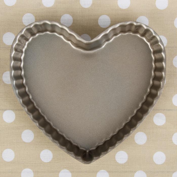 """Форма для выпечки 23х3,5 см """"Рифленое сердце"""", антипригарное покрытие"""