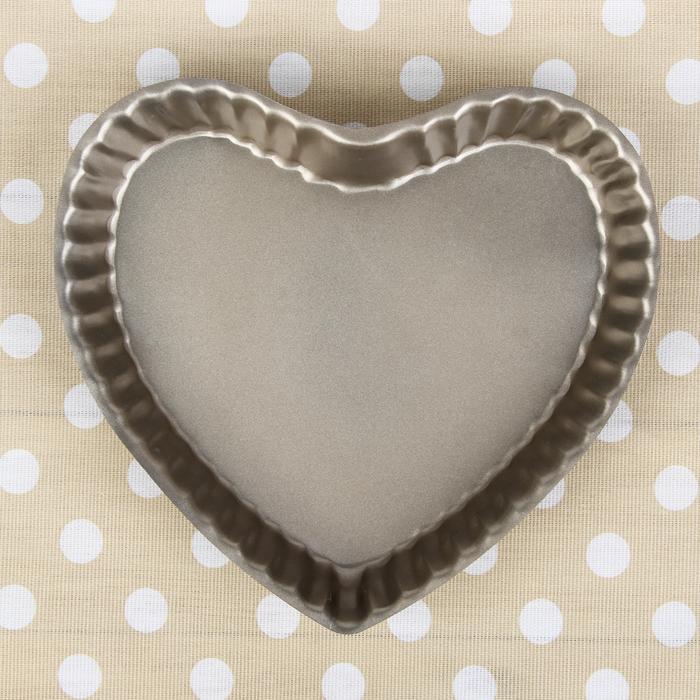"""Форма для выпечки 25,5х4 см """"Рифленое сердце"""", антипригарное покрытие"""