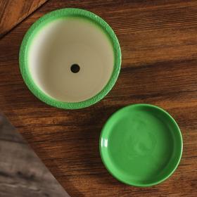 """Горшок для цветов """"Глория"""" шёлк, зелёное 0,5 л - фото 5555177"""