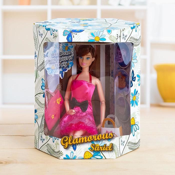 """Кукла модель шарнирная """"Энжи"""" в платье, с аксессуарами, МИКС"""
