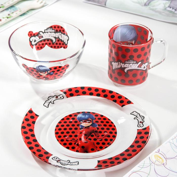 """Набор посуды """"Леди Баг и Супер Кот"""", 3 предмета: кружка 250 мл, тарелка 19,5 см, салатник 250 мл 13 см, подарочная упаковка"""