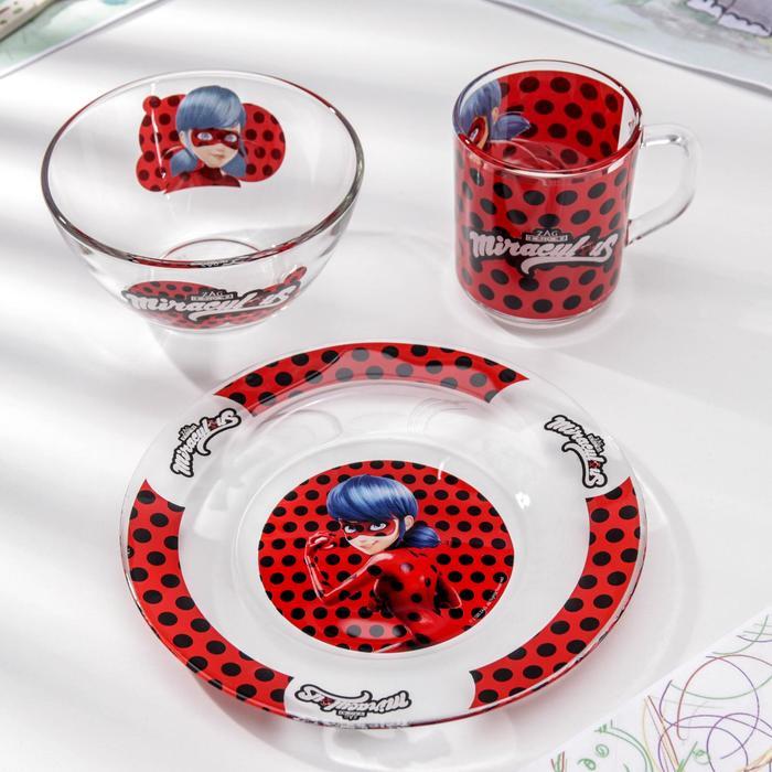 Набор посуды «Леди Баг и Супер Кот», 3 предмета: кружка 250 мл, салатник 250 мл d=13 см, тарелка d=19,5 см, подарочная упаковка - фото 797904453