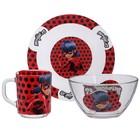 Набор посуды «Леди Баг и Супер Кот», 3 предмета: кружка 250 мл, салатник 250 мл d=13 см, тарелка d=19,5 см, подарочная упаковка - фото 105460091