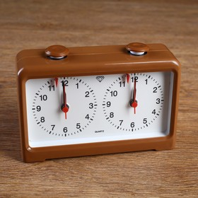 Часы для шахмат двойные, коричневые, пластик, 18х12 см Ош