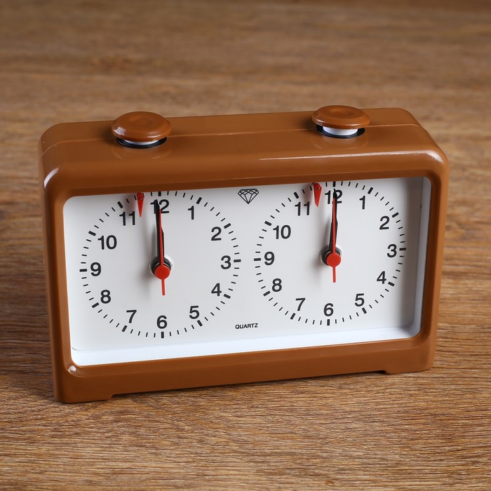 Часы для шахмат двойные, коричневые, пластик, 18х12 см