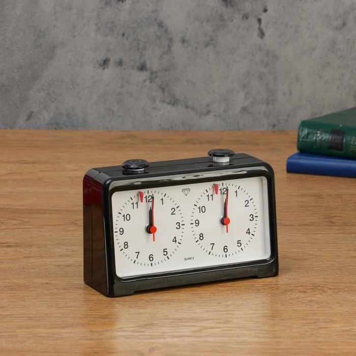 Часы для шахмат двойные, чёрные, 18х12 см