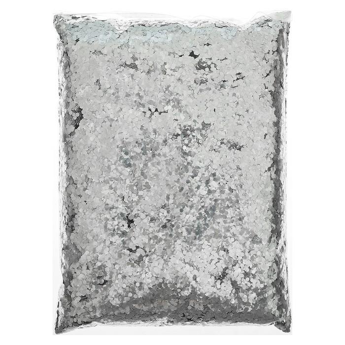 """Наполнитель для шара """"Конфетти шестиугольник"""" серебряный 500г"""
