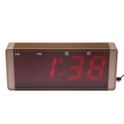 """Часы электронные """"Классика"""" с будильником, красные цифры, черные, 24х10 см"""