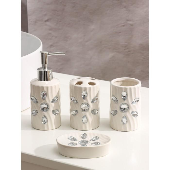 Набор аксессуаров для ванной комнаты «Дерево», 4 предмета (дозатор 300 мл, мыльница, 2 стакана)