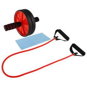Набор для фитнеса (ролик для пресса+эспандер), цвет красный