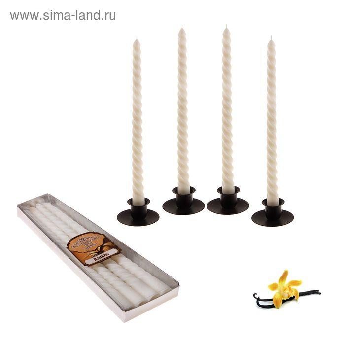 Свечи восковые витые (набор 4 шт), аромат ваниль
