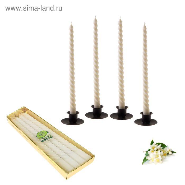Свечи восковые витые (набор 4 шт), аромат жасмин