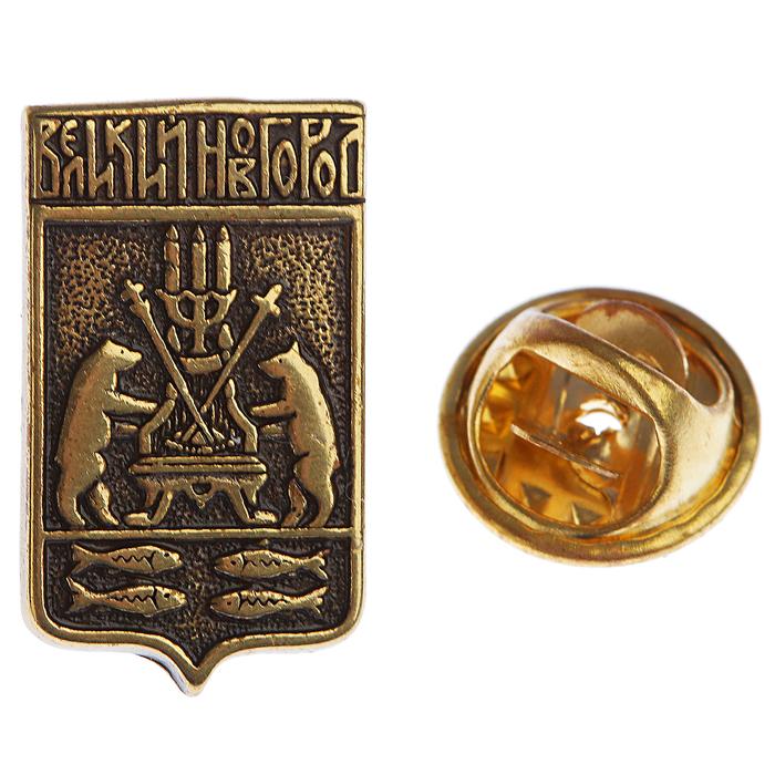 Значок «Герб Великого Новгорода» H 20 мм, L 12 мм латунь