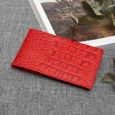 Визитница горизонтальная, 1 ряд, 18 карт, кайман, цвет красный