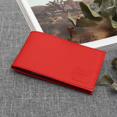 Визитница горизонтальная, 1 ряд, 18 карт, наппа, цвет красный