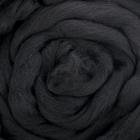 Гребенная лента 100% шерсть австралийский меринос 50гр (0140, черный) - фото 282120948