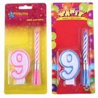Свечи восковые для торта (цифра 9 и музыкальная), цвета МИКС