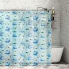 """Штора для ванной 180×180 см """"Лебеди"""", полиэстер"""